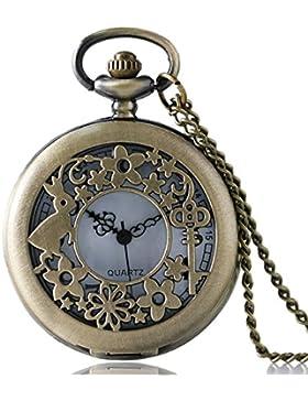 Alice im Wunderland Kaninchen & Schlüssel Filigrane Bronze gebürstet/Retro Vintage Case Damen Quarz Taschenuhr...