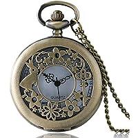 Alice nel paese delle meraviglie filigreed Coniglio e chiave in bronzo spazzolato/Custodia Vintage da donna al quarzo orologio da tasca collana–catena, da 32