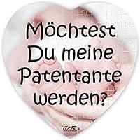 Puzzle-Botschaft Herz ~ Möchtest Du meine Patentante werden - Babyfüße ~ 75 Teile 19x19cm inkl. Geschenk-Beutel ~ WB wohn trends®
