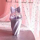 TAOtTAO Lovely Cup 400ml Reizende Strohschale-Kaltes Getränk-Schalen-Plastik mit Bogen-Deckel-Stroh-Schalen-Flasche (Lila)