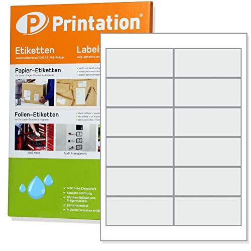 mm WETTERFEST weiß matt auf A4 - 2 x 6 Stück / Seite 120 Folienetiketten 97x42,4 ()