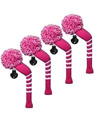 Scott Edward/utilidades fundas de cabeza de palo de golf híbridos, 4 piezas Paquete, rayas, hilo acrílico double-layers de punto, de punto con giratorio número etiquetas, 9 colores opcionales, rosa (b)