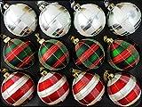 My-goodbuy24 12-teiliges Set Luxus Weihnachtskugeln Echtglas Glaskugeln Weihnachtsbaumschmuck Weihnachten Weihnachtsdeko Christbaumkugeln Set 8 cm rot - grün - Silber