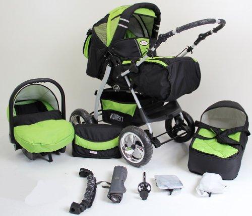 Clamaro \'VIP 2018\' 3in1 Premium Kinderwagen Kombi mit Soft Babywanne, Sport Buggy und Autositz Babyschale Gruppe 0+ (0-13 kg), Design: 4. Grau Hartgummi Bereifung - 59.Schwarz-Gruen