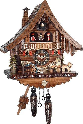 Engstler orologio a cucù al quarzo casetta tipo foresta nera con uomo che beve birra e ruota del mulino in movimento, con musica en 471 qmt
