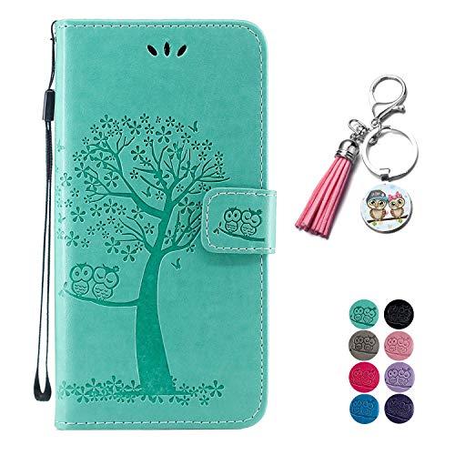LA-Otter Kompatibel für Samsung Galaxy A10 Hülle Eule Grün Leder Wallet Cover Tasche Handyhüllen mit Kartenfach Schutzhülle Flip Case
