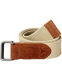 Hidekraft Unisex Canvas Leather Belt (Beige, Free Size)