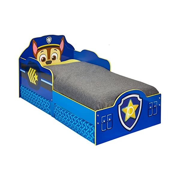 Paw Patrol Chase Kids Toddler Bed with Underbed Storage by HelloHome Paw Patrol Ideal transition from cot to bed - make the move to their first big bed magical with the Paw Patrol toddler bed with underbed storage from HelloHome, featuring Chase Takes cot bed size mattress - 140 (l) x 70 cm (w). Mattress not included. Assembled size (h) 68, (w) 77, (l) 145 cm Suitable for 18 months to 5 years, this blue kids bed is for your little Paw Patrol and Chase fan 6