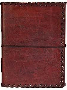 INDIARY Expedition Notizbuch aus echtem Leder und handgeschöpftem Papier 18 x 13 cm - Braun