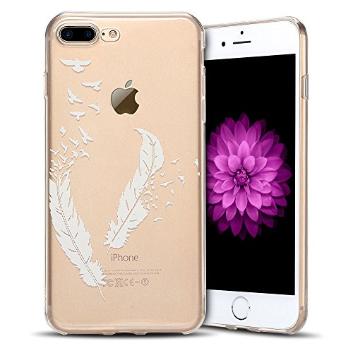 Cover iPhone 7 plus Custodia iPhone 8 plus Silicone Anfire Morbido Flessibile TPU Gel Case Cover per Apple iPhone 8 plus/7 plus (5.5 Pollici) Ultra Sottile Clear Trasparente Copertura Antiurto Protett Piuma Bianco
