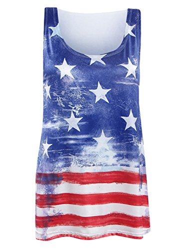 Futurino Damen USA Sterne und Ärmellose Streifen Shirts America Flag Tank Top Blau