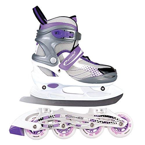 SPOKEY® ROCKER Inline Skates / Schlittschuhe mit austauschbarer Schiene | Kinder | Damen | Herren | Inliner | Blades | Rollen | Kufe | ABEC7 Chrome | 30-33 | 34-37 | 38-41