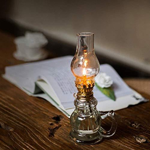 Dfttg LED nachtlicht retro tischlampe kinder geschenke romantische paar lampe hause kerosin laterne persönlichkeit handwerk lampe (Transparent) -