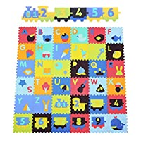 Bamny 36 Piece Soft Foam Play Mat Puzzle with Animal- Comfortable Stone Pattern Cartoon Puzzle Mat for Kids & Toddlers (32*32*1.4cm)