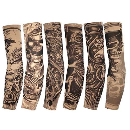 YXNN Temporäre Gefälschte Slip On Tattoo Arm Ärmel Radfahren Basketball Sun Block Sleevelet Für Männer Und Frauen (Unisex Dark Set, Packung Mit 3) (Dark Make-up Halloween Cool)
