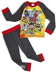 Teen Titans Go! Pijama para Niños Invierno, con Superhéroes Beast Boy Cyborg Starfire Robin Raven, Ropa de Dor