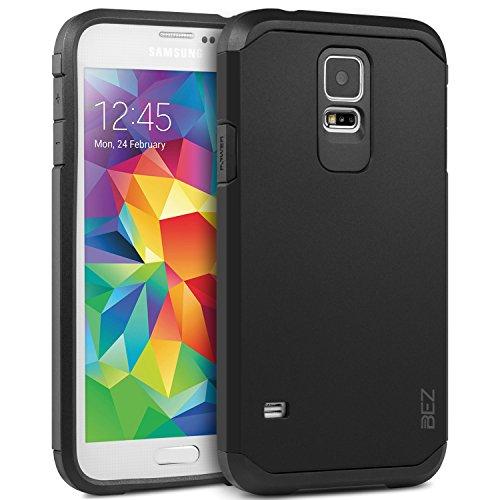 Handyhülle Samsung Galaxy S5 / S5 NEO, BEZ® Stoßfestes Etui für Samsung S5 / S5 NEO, [Heavy Duty Serie] Outdoor Dual Layer Armor Case Handy Schutzhülle [Shockproof] robuste Hülle - Schwarz