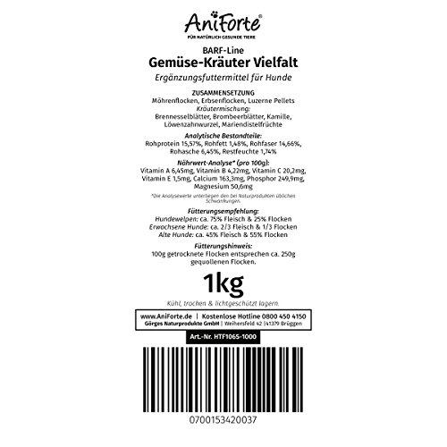 AniForte B.A.R.F. Line No1 Gemüse-Kräuter Vielfalt 1 kg glutenfrei- Naturprodukt für Hunde - 4