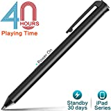 Heiyo Active iPad Stift- Eingabestift Touchscreen Wiederaufladbare Kapazitiver mit 1.55mm Ersetzbar Feine Spitze, 40 Stunden Playing Time & 30 Tag Standby Stylus Pen für iPad   iPad Air   iPad Pro  iPad Mini (Black) (Schwarz)