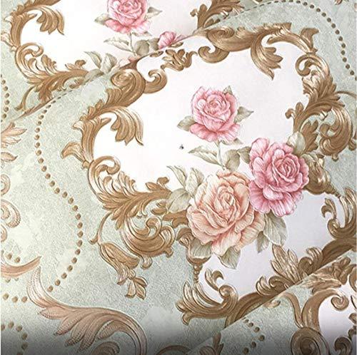 DUOCK Amerikanische Europäischen pastorale Blumen Tapeten für Wände 3D Wall Papierrolle PVC Prägungen wasserdicht Wohnzimmer Schlafzimmer, 550804, 53 CM X 10 M