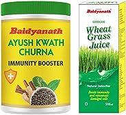 Baidyanath Ayush Kwath Churna - 100 gm (pack of 2) & Baidyanath Wheatgrass Juice - Natural, Herbal Detoxif