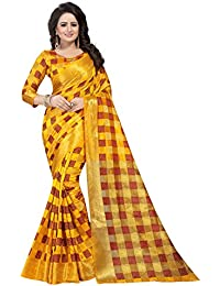 [Sponsored]SATYAM WEAVES WOMEN'S ETHNIC WEAR JARI BORDERED KANJIVARAM COTTON SILK YELLOW COLOUR SAREE