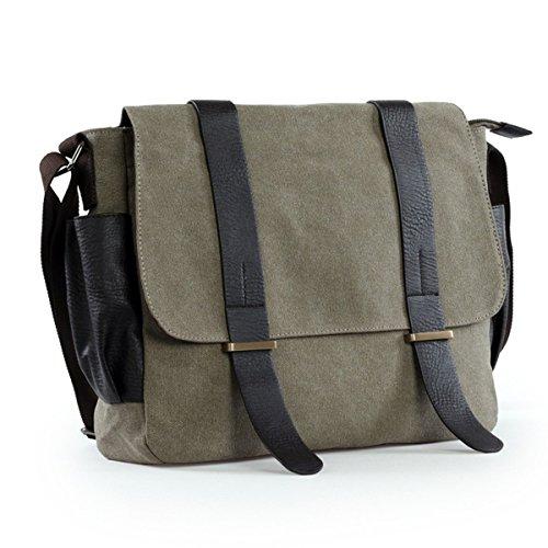 Umhängetasche,LOSMILE Unisex Schultertasche Messenger Bag, Casual Vintage Canvas Herrentaschen. (Khaki) (Canvas Khaki)