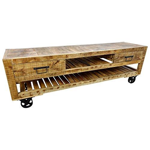 Meuble TV Bas Table de Salon Télévision Board Bois Massif avec roulettes Design Industriel