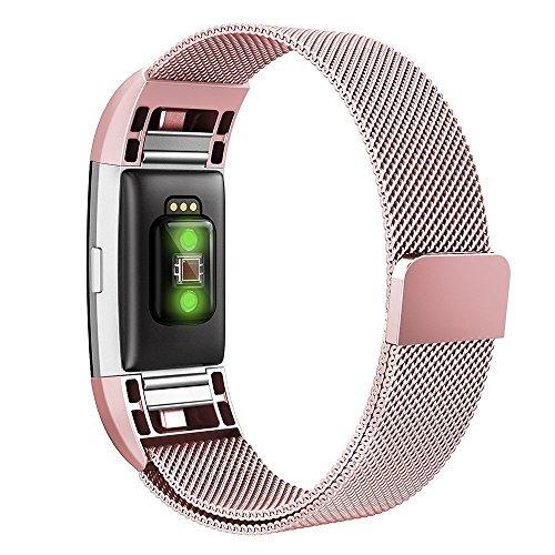 Fitbit Charge 2 Band,Simpeak Edelstahl Ersatzband Straps Armband für Fitbit Charge 2, Klein, Rosa