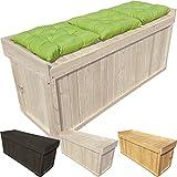 proheim Auflagen-Box mit Sitz aus 100 % FSC Holz stabile Universal-Box Kissen-Box Sitzbank, Farbe:Altweiß, Größe:122 x 41 x 56 cm