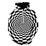 LoveLeiter Herren Hooide Schwindel 3D Digital Vortex Printed Langarm-Kapuzenpulli Tops Kreatives Sweatshirt, 3D Digital Vortex Printed Langarm-Kapuzenpulli Tops Bluse