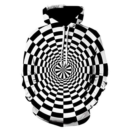 Zegeey Herren 3D Digital Vortex Printed Langarm Kapuzenpulli Tops Bluse