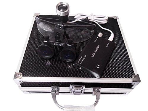 Mike Dental 3,5 x 420 mm Arbeitsabstand optisches Glas Chirurgische Ferngläser + LED-Stirnlampe +...