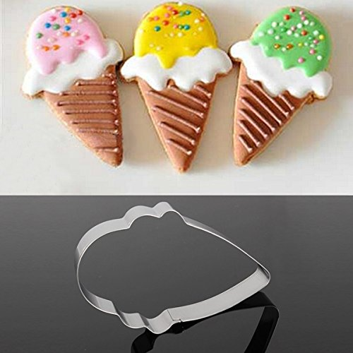 Inovey Stainless Steel Ice Cream Shape Biscuit Cookie Cutter Decorating Tool Ice Cream Cookie-cutter