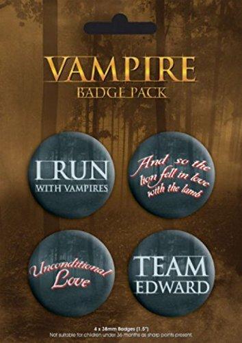 1art1 49636 Vampire - 4 X 38mm Buttons Button Pack 15 x 10 cm