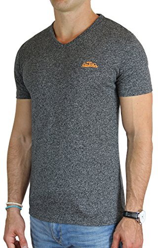 M.Conte Fitness T-Shirt Herren v Ausschnitt Sportstyle Kurzarm Tee Stickerei Logo V-Kragen Grün Blau Purple Marine M L XL XXL Carl Anthrazit Grau