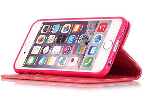 Nnopbeclik Coque Iphone 6 Plus Apple / Coque Iphone 6S Plus Apple Fine Folio Wallet/Portefeuille en Bonne Qualité PU Cuir Housse pour Iphone 6 Plus Coque Cuir / Iphone 6S Plus Coque Cuir (5.5 Pouce) [ rouge