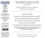 Giuliani: Opere Solistiche [Rossana Bertini; Davide Ficco] [Tactus: TC 780703]