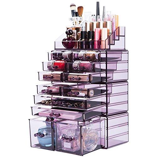 Readaeer Make up Organizer mit 12 verstellbare Ebenen, Multifunktionale Aufbewahrungsbox (Lila)