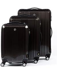 FERGÉ® Juego de 3 maletas de viaje CANNES trolley funda rígida 4 ruedas (360°)