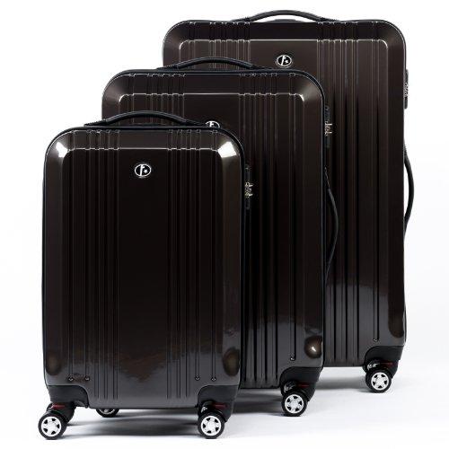FERGÉ Set di 3 valigie CANNES - bagaglio rigide trolley set duro da 3 - con 4 ruote - ABS & PC grigio