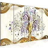 Photo Gustav Klimt - Arbre de vie Décoration Murale 200 x 80 cm Toison - Toile Taille XXL Salon Appartement Décoration Photos d'art Marron 5 Parties - 100% MADE IN GERMANY - prêt à accrocher 003055a
