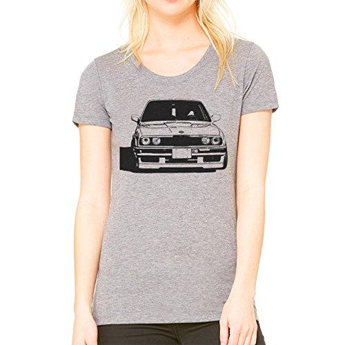 Stencil e30 M Bimmer Automotive Damen T-Shirt Grau