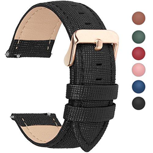 Fullmosa Uhrenarmband, Cross Serie Echtes Lederarmband Ersatzband Smart Watch Armband mit Edelstahl Metall Schließe 16mm Schwarz