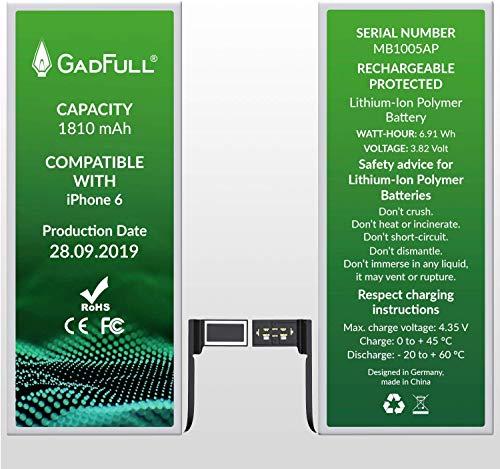 GadFull Batteria compatibile con iPhone 6   2019 Data di produzione   Manuale Profi Kit Set di Attrezzi   Batteria di ricambio senza cicli di ricarica   Con tutti gli APN o