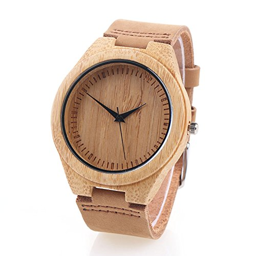 UMmaid Mens Wooden Watch - Wooden Bamboo Dial Leather Strap Japan Quartz Wrist Watch(Brown1)