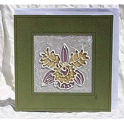 Verkauf!!!20% reduziert,Handgemalte Orchideen-Liebes-Karte,Blumen-Silk-Karte, Orchideen-Jahrestagskarte, ungewöhnliche Hochzeits-Karte, exotische Blumenkarte, der Tag der Orchideen-Mutter ,Dankeschön-Karten