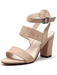 JUWOJIA Sommer Sandalen Farbe Grid Spitze Zehe Ankle Strap Buckle High-Heeled Sandalen Sommer Sandalen