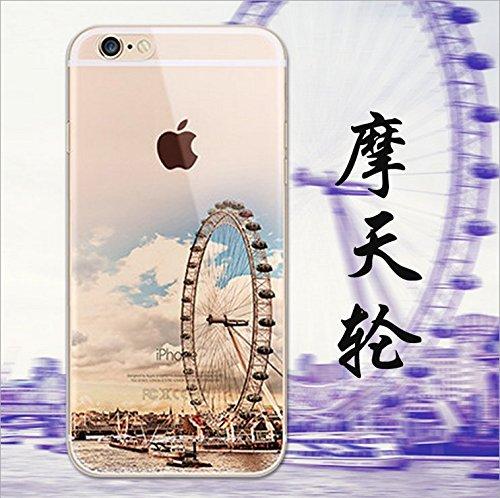 iPhone 6s Cover, MAOOY Bellissimo Paesaggio Modello Design Case per iPhone 6, Flessibile Ultra Sottile Leggero Bumper Copertura di Soft Gomma Sveglio Cristallo Gel Antiurto Protettiva per 4.7 Apple i Ruota Panoramica