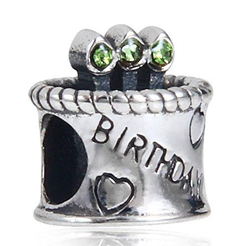 Soulbead Candela per torta di compleanno in argento Sterling 925con cristalli a forma di cuore (Peridot Forma Di Cuore Ciondolo)